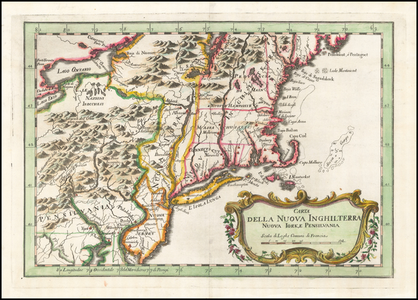 49-New England and Mid-Atlantic Map By Jacques Nicolas Bellin