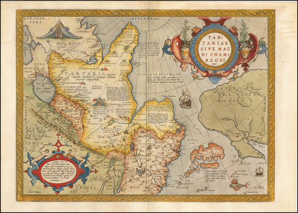 32-Pacific Northwest, Alaska, China, Japan, Russia in Asia and California Map By Abraham Ortelius