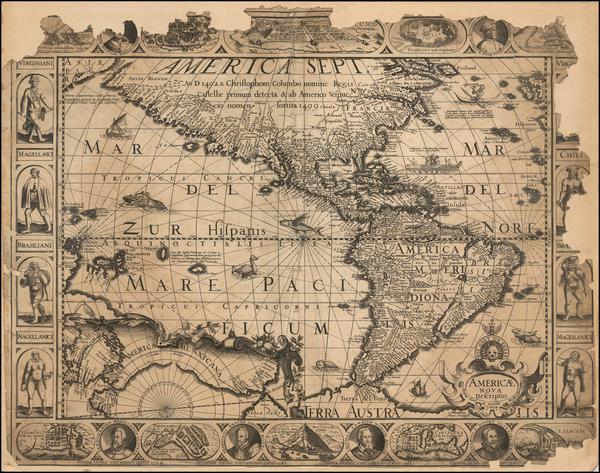 97-South America and America Map By Pieter van den Keere