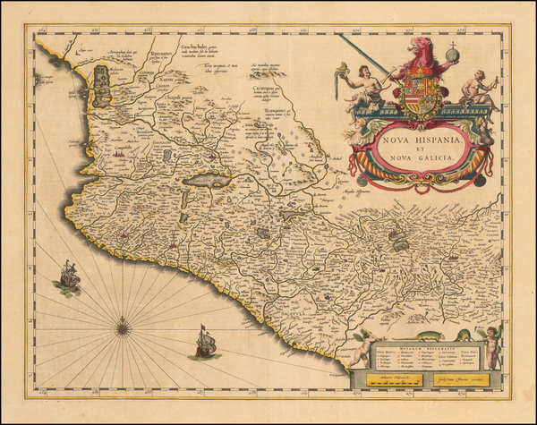 58-Mexico Map By Willem Janszoon Blaeu