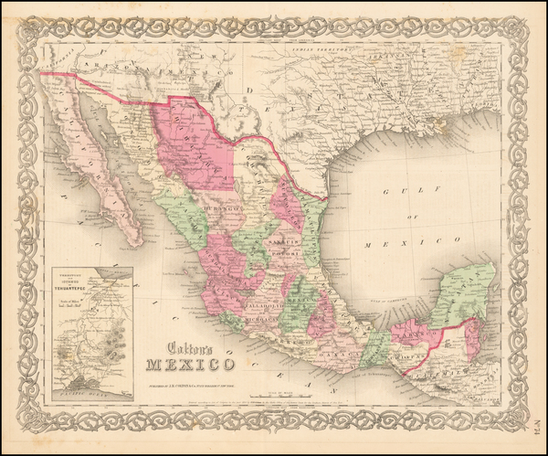 24-Mexico Map By Joseph Hutchins Colton