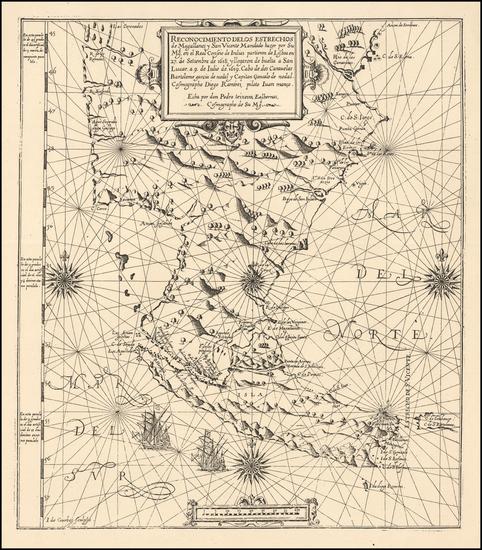 56-South America and Argentina Map By Pedro Teixeira / Diego Ramirez de Arellano