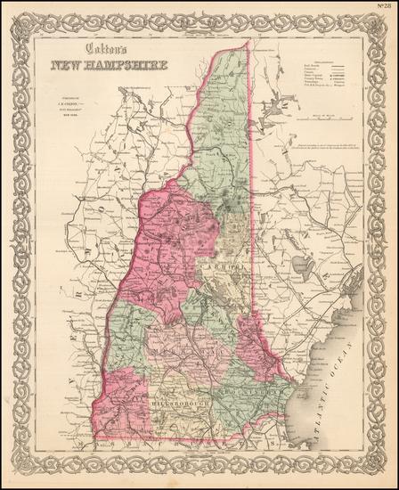25-New Hampshire Map By Joseph Hutchins Colton