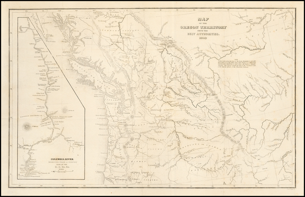 82-Rocky Mountains, Pacific Northwest, Oregon and Washington Map By Charles Wilkes