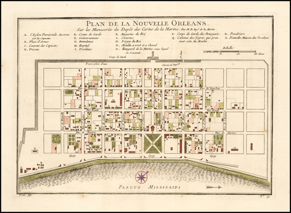 13-Louisiana and New Orleans Map By Jacques Nicolas Bellin