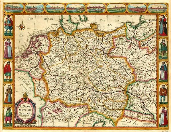 84-Europe, Switzerland, Germany, Austria and Czech Republic & Slovakia Map By John Speed