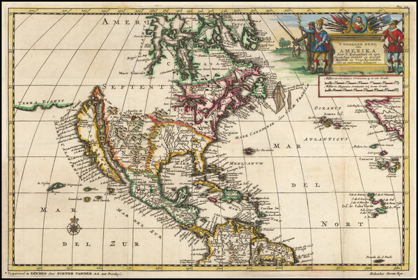 32-North America Map By Pieter van der Aa