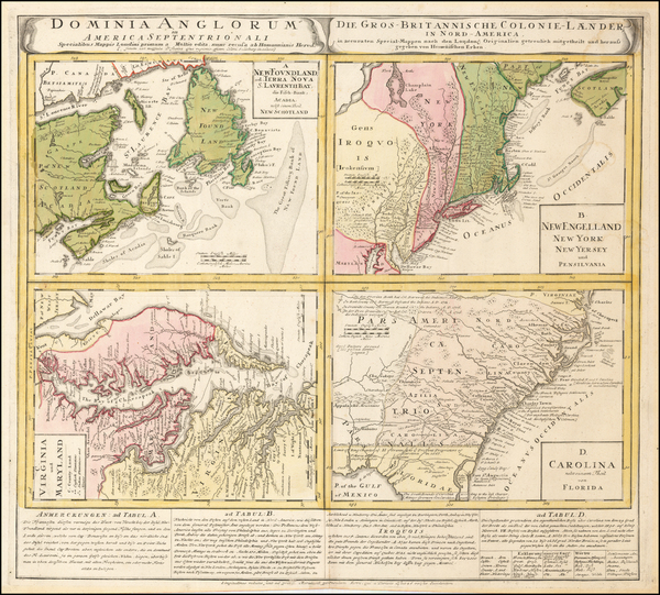 New England, Mid-Atlantic and Southeast Map By Homann Heirs