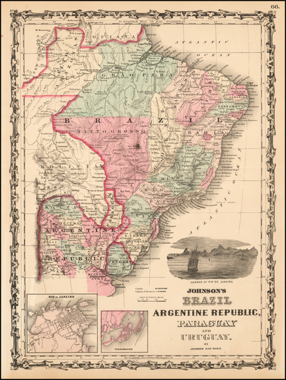 57-South America Map By Benjamin P Ward  &  Alvin Jewett Johnson