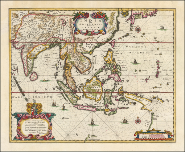 98-China, Southeast Asia, Philippines and Indonesia Map By Henricus Hondius