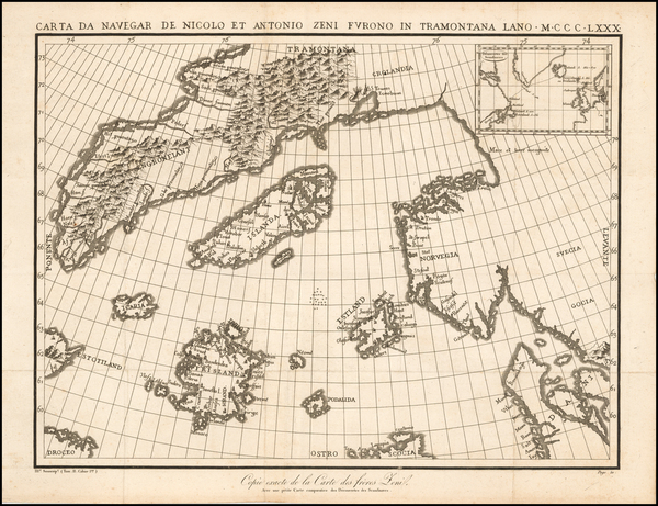 34-Polar Maps, Atlantic Ocean, Canada and Scandinavia Map By Nicolo Zeno