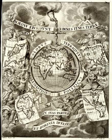 72-World, World and Eastern Hemisphere Map By Heinrich Scherer