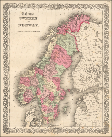 12-Scandinavia Map By Joseph Hutchins Colton