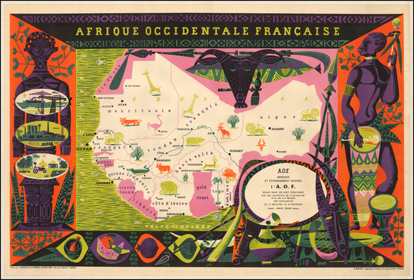 60-Africa, Africa and West Africa Map By Alain Cornic