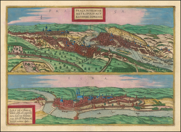 100-Czech Republic & Slovakia Map By Georg Braun  &  Frans Hogenberg