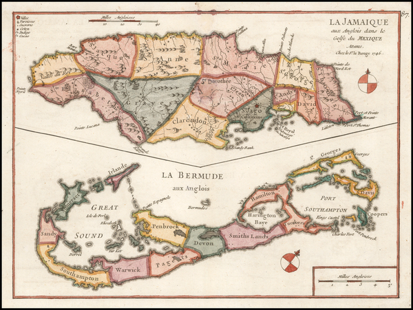 6-Jamaica and Bermuda Map By George Louis Le Rouge