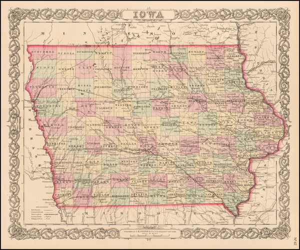 56-Midwest and Plains Map By Joseph Hutchins Colton