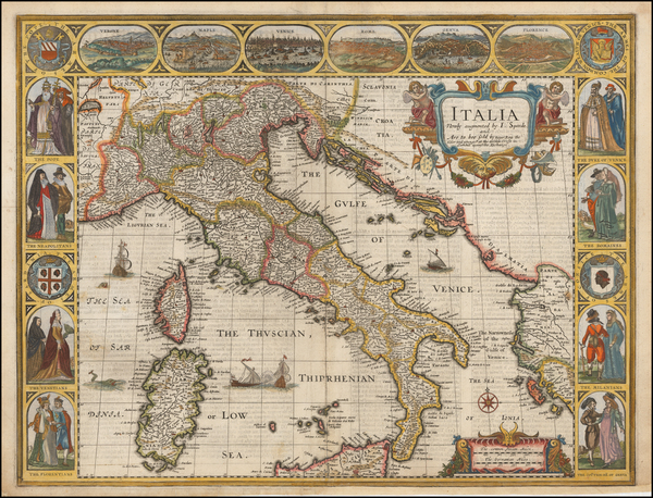 14-Balkans, Italy, Mediterranean and Balearic Islands Map By John Speed