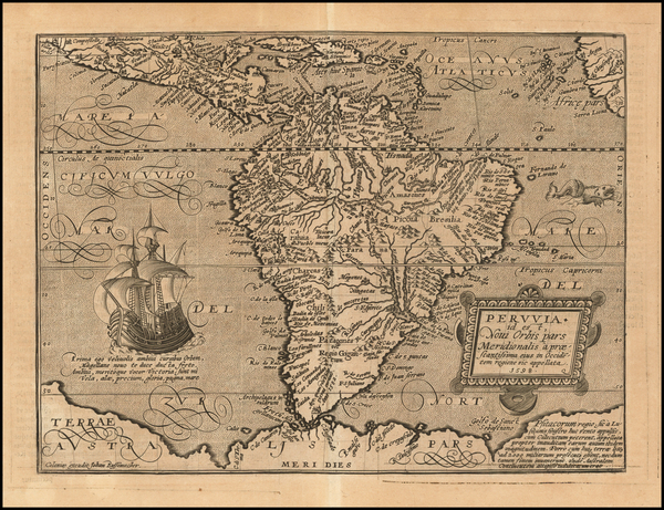 64-Central America and South America Map By Matthias Quad / Johann Bussemachaer