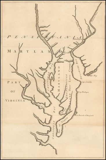 61-Mid-Atlantic, Pennsylvania, Maryland, Delaware, Southeast and Virginia Map By John Senex