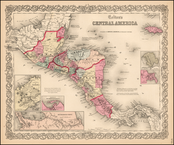 8-Central America Map By Joseph Hutchins Colton