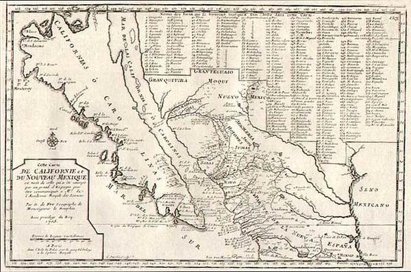 59-Southwest, Mexico, Baja California and California Map By Nicolas de Fer