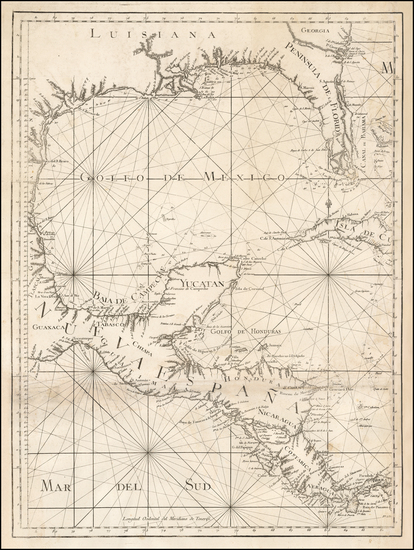 50-Florida, South, Southeast, Texas, Mexico and Central America Map By Tomás López