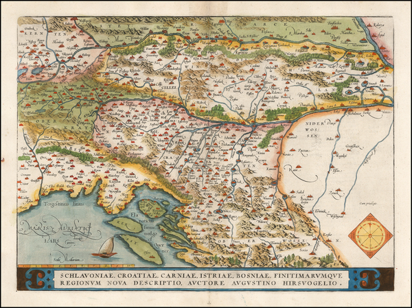 54-Balkans, Croatia & Slovenia and Bosnia & Herzegovina Map By Abraham Ortelius