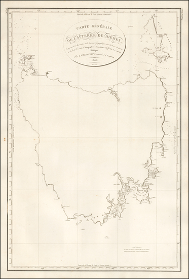65-Australia Map By Louis Claude Desaulses de Freycinet