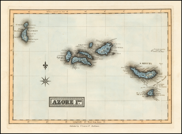 43-Atlantic Ocean and African Islands, including Madagascar Map By Fielding Lucas Jr.