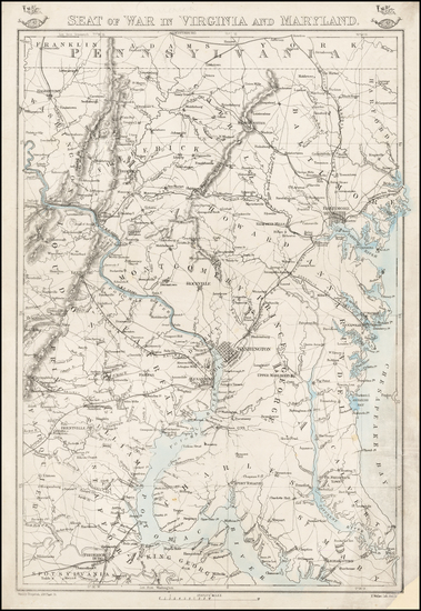 1-Maryland, Virginia and Civil War Map By Edward Weller / Weekly Dispatch