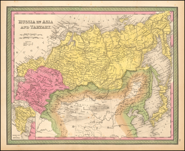 64-China, Central Asia & Caucasus and Russia in Asia Map By Samuel Augustus Mitchell