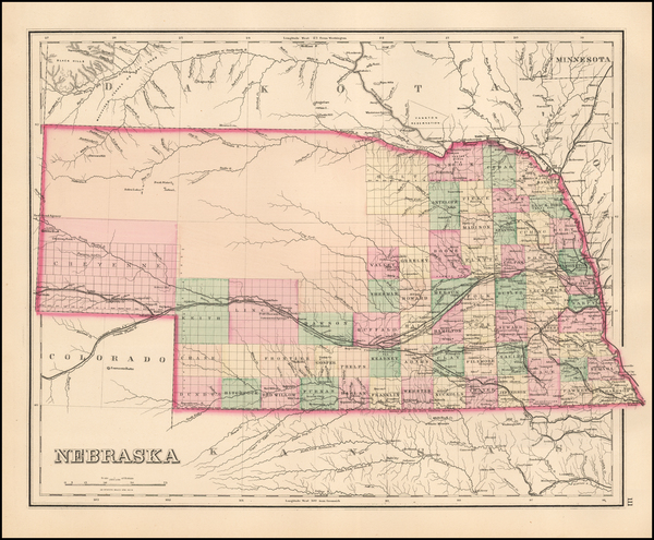 4-Nebraska Map By O.W. Gray