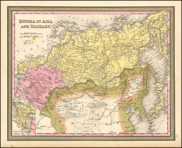 70-China, Central Asia & Caucasus and Russia in Asia Map By Samuel Augustus Mitchell