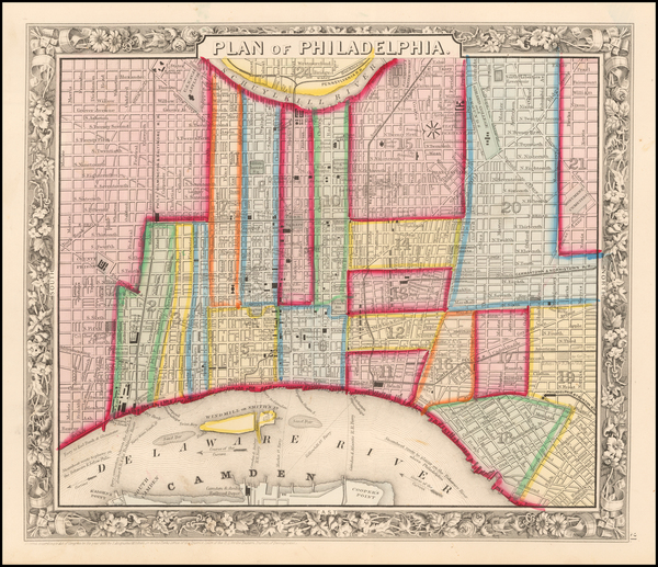 16-Pennsylvania and Philadelphia Map By Samuel Augustus Mitchell Jr.