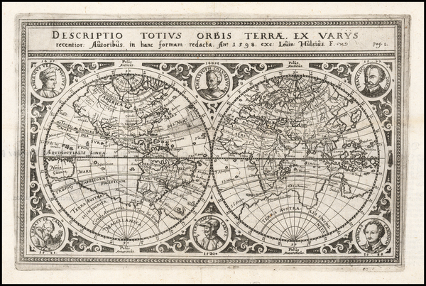 50-World and World Map By Levinus Hulsius