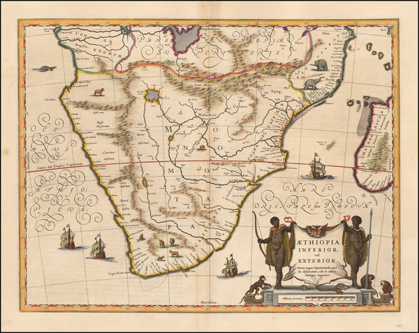 98-South Africa and African Islands, including Madagascar Map By Willem Janszoon Blaeu