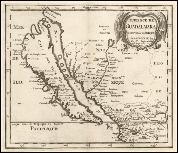 60-Southwest, Mexico, Baja California and California Map By Nicolas Sanson