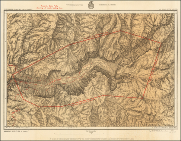 47-Yosemite Map By George M. Wheeler / U.S. Geographical Survey