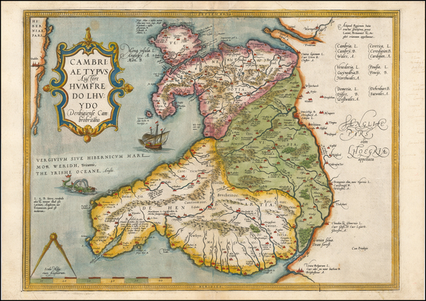 27-Wales Map By Abraham Ortelius