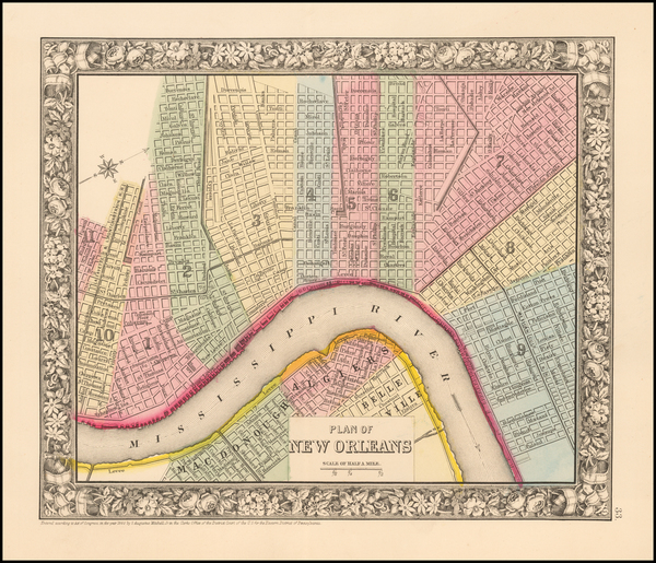 98-South and New Orleans Map By Samuel Augustus Mitchell Jr.