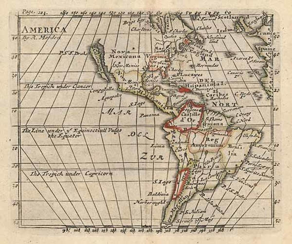 78-South America and America Map By Robert Morden