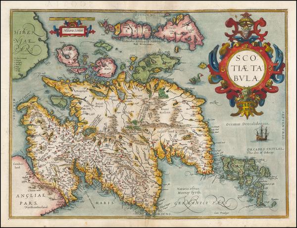 78-Scotland Map By Abraham Ortelius