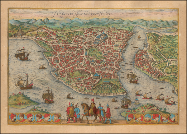 Turkey and Turkey & Asia Minor Map By Georg Braun  &  Frans Hogenberg
