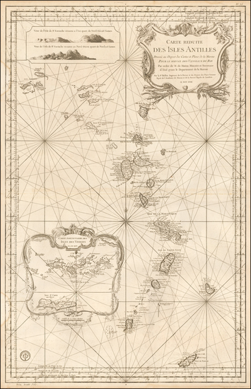 24-Caribbean and Virgin Islands Map By Jacques Nicolas Bellin