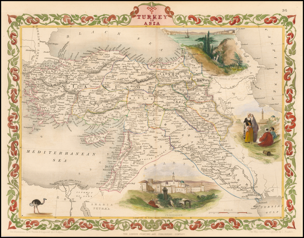 31-Turkey, Middle East and Turkey & Asia Minor Map By John Tallis