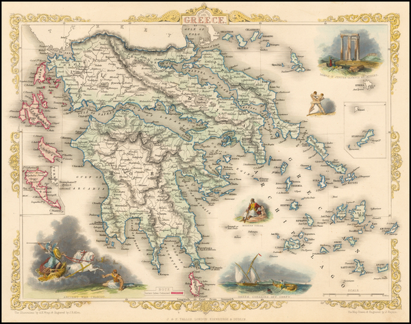 94-Greece and Mediterranean Map By John Tallis