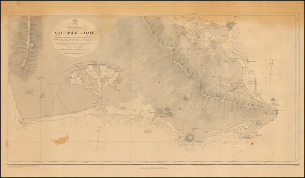 61-Hawaii and Hawaii Map By U.S. Navy Hydrographic Office