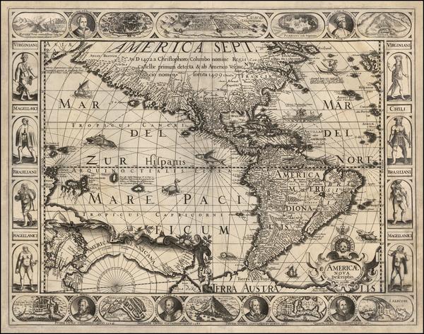 98-South America and America Map By Pieter van den Keere