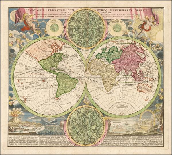 94-World and Celestial Maps Map By Johann Baptist Homann